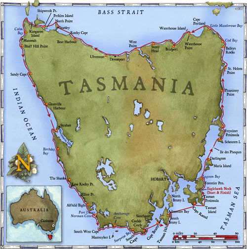 Tasmania-route-map-Seakayak